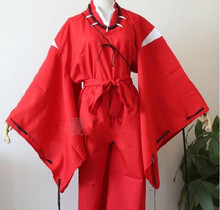 Inuyasha Cosplay Costume Bright Red Uniform With Necklace