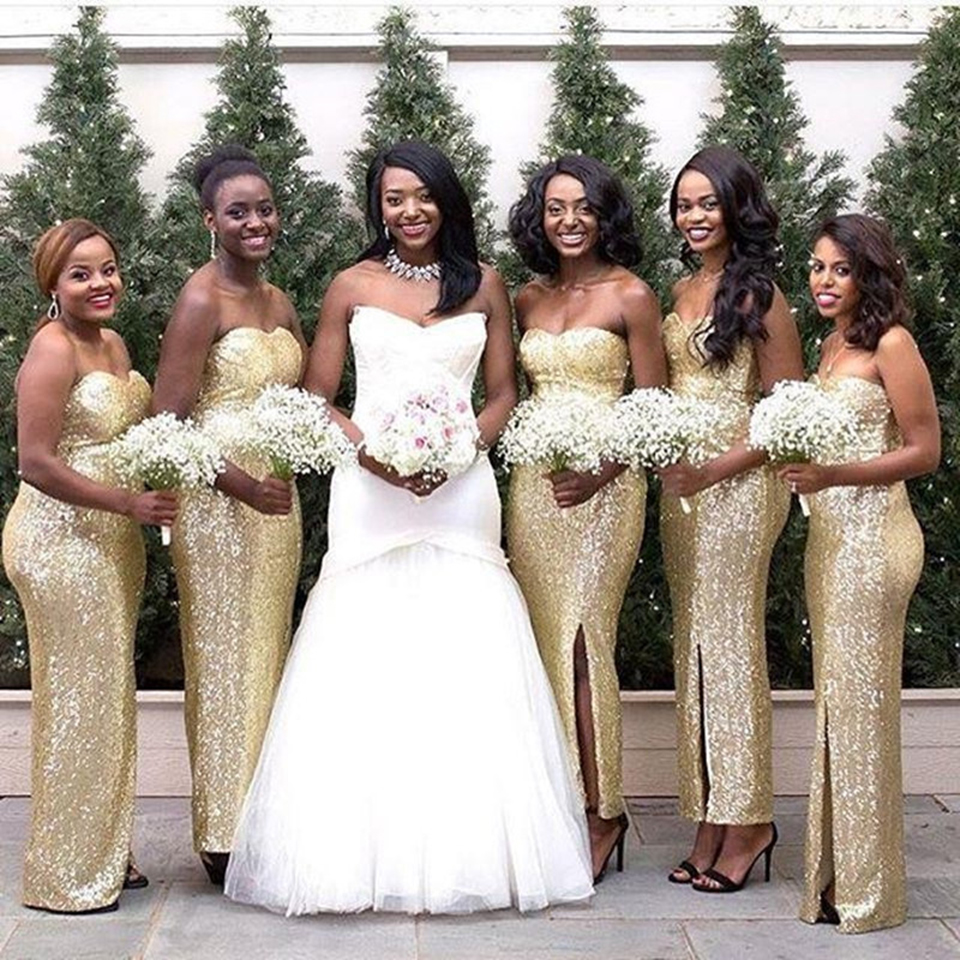 Sparkly Long Gold Bridesmaid Dresses Women Strapless Sequin Bridesmaid Dress  Slit Sexy Bridesmaid Gowns For Wedding Party B42-in Bridesmaid Dresses from  ... 083297e1dc45
