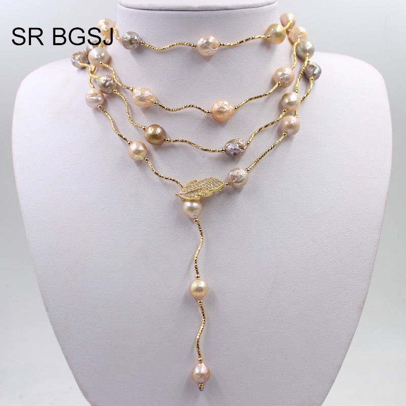 Free Shipping Lavender Edsion FW Pearl Beads Gold Color Leaf Clasp Women Jewelry Statement Necklace 9-10mm 60