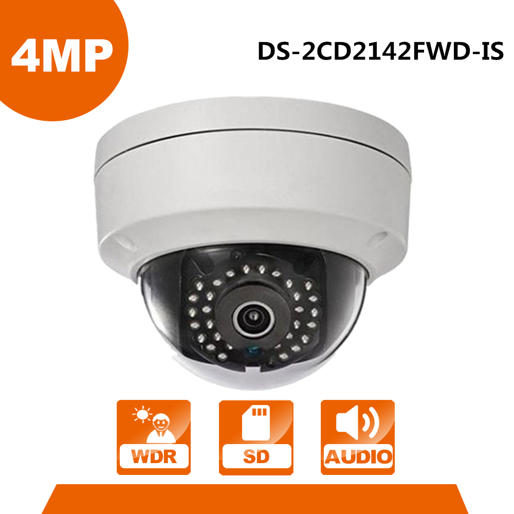 HIK IP Camera DS-2CD2142FWD-IS 4MP PoE Outdoor Dome Security Camera Built-in Micro Card Slot & Alarm I/O Replace DS-2CD2145F-IS hik security camera ds 2cd2142fwd is 4mp poe ip camera day night cctv ip camera with audio and alarms interface 8pcs lot