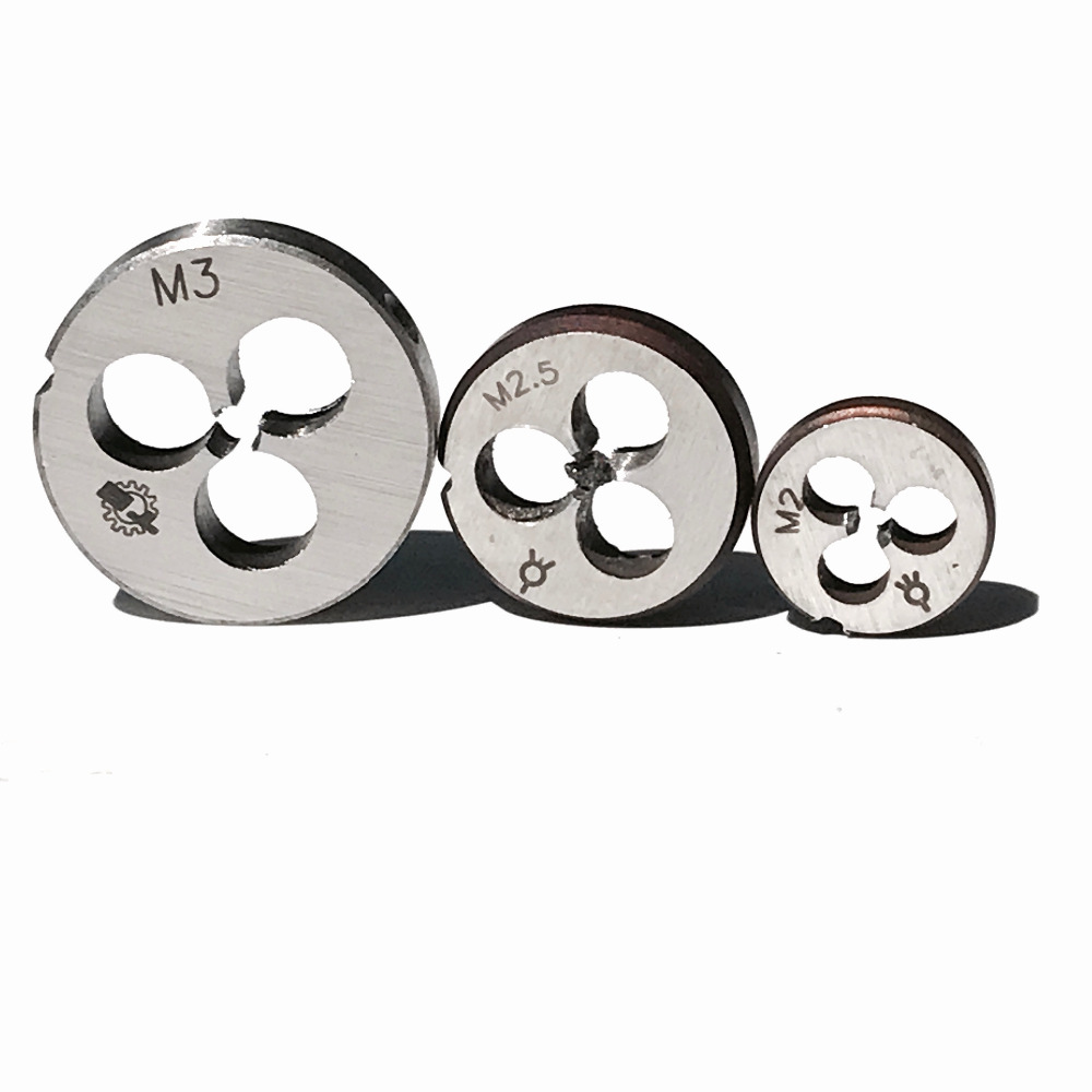Envío gratuito de 3PCS en total 1pc de cada troquel manual métrico redondo M2 M2.5 M3 para roscar piezas pequeñas de aluminio y cobre de metal
