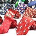 Nueva Microfibra de Seda Corbatas de Los Hombres Clásicos de La Moda Carácter Imprimir Partido Lazos para Hombre Corbata De Regalo Feliz Navidad empate