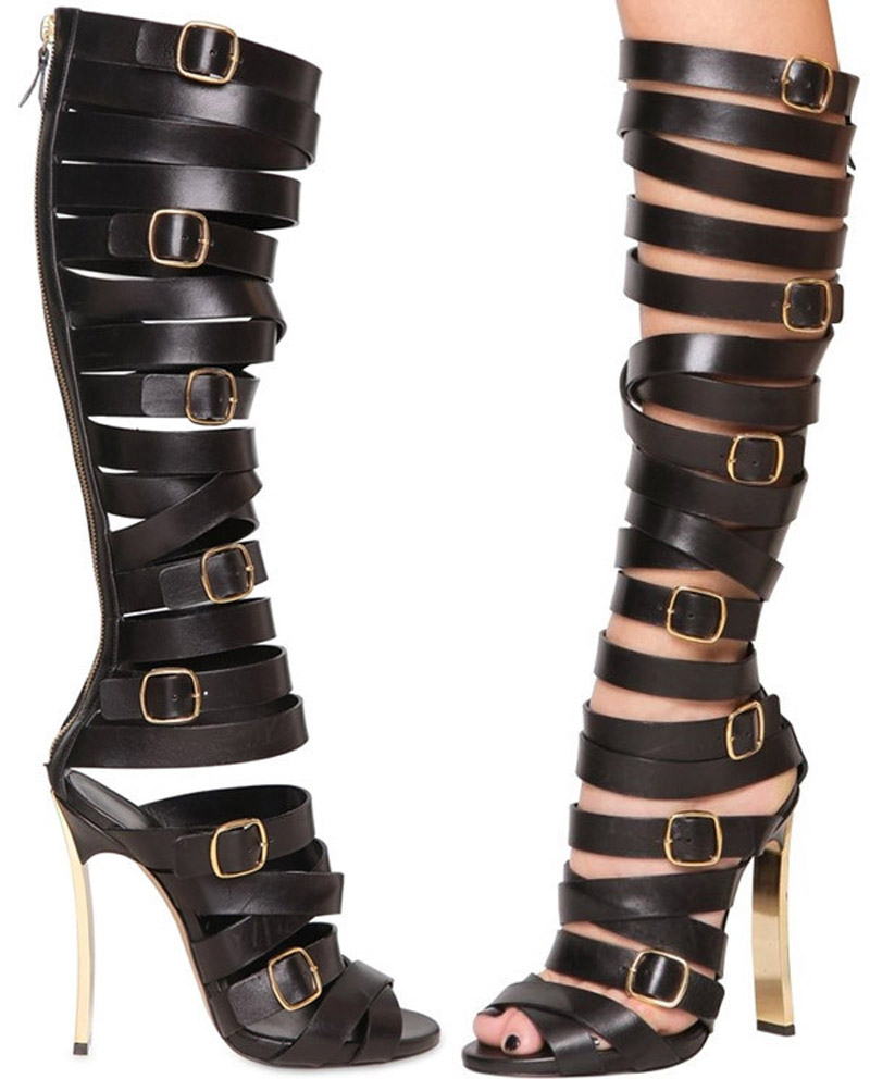Newest Fashion Sexy Women Cross-tied Buckle Strap High Boots Cut-Outs Gladiator Knee-High Zipped Booty Women strange Style Boots patent leather knee high fashion women boots buckle strap cool motorcycle boots thin high heels cut outs sandals boots shoes