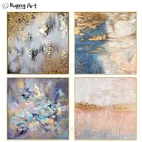 100% Handmade Modern Abstract Wall Art Acrylic Pictures Hand Painted Gold Foil Blue Purple Colorful Landscape New Oil Painting