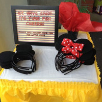 Mickey Mouse And Minnie Mouse Headband Children Party Minnie Mouse Ears Baby Hair Accessories Red Bow