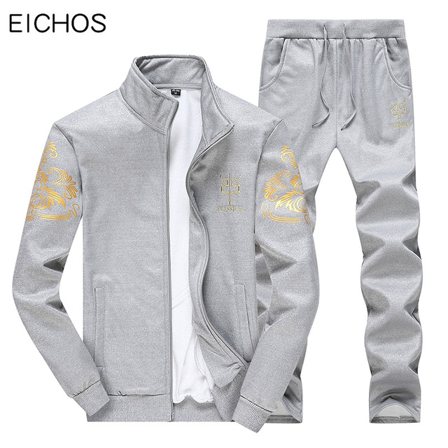 7e10b53e1fc4 Chándal para hombre 2019 conjunto de Sudadera con capucha dos piezas otoño  chaqueta cremallera pantalones Marca Ropa deportiva masculina talla ...