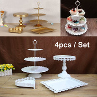 High Quality Cake Stand 4 Pieces In Set Dessert Table Wedding Party Shower Event Supplier Sweet Table Cake Holder Decoration
