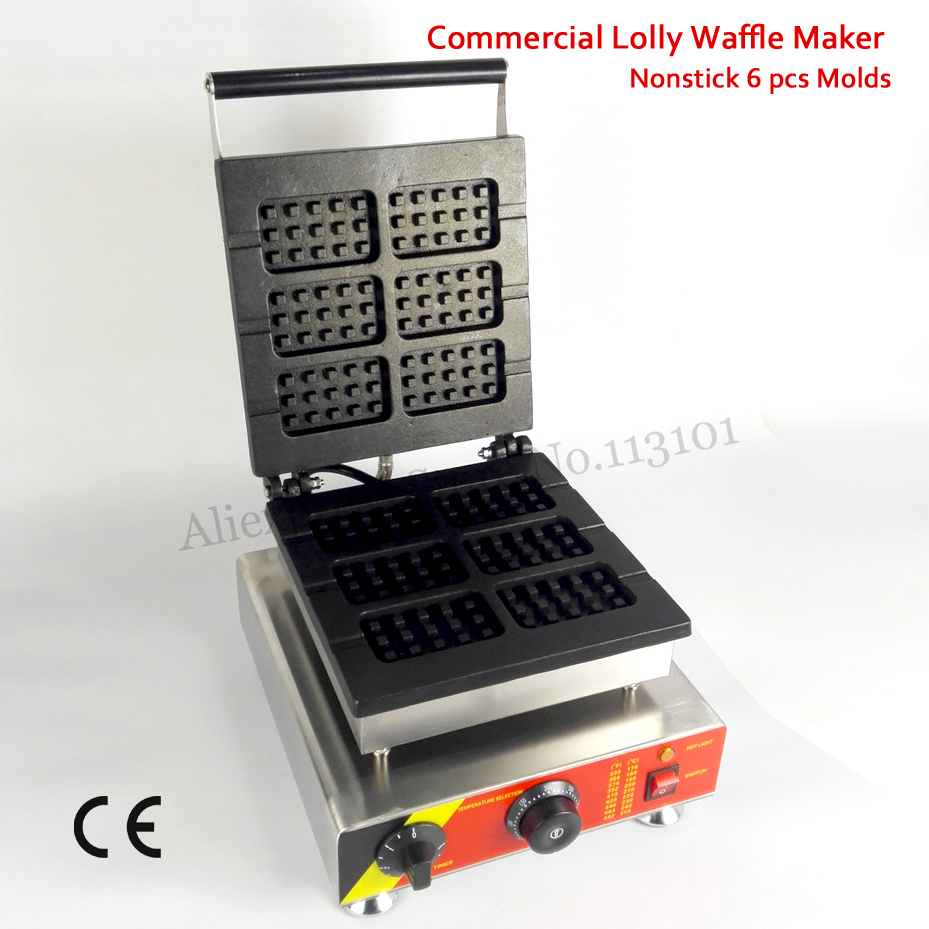 Electric Rectangle Lolly Waffle Machine Nonstick Cake Maker 6 Molds 110V/220V 1500W with Timer and Temperature Controller 1pcs 1500w 110v 220v electric lolly waffle maker with stick lolly waffle maker lolly waffle machine