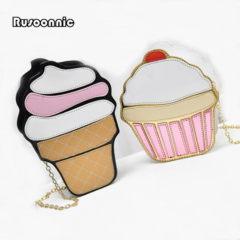 bolsa cupcake Women Bag Girl Messenger Bags Ice Cream Women Leather Handbags Cake Clutch Bolsa Feminina Bolsas Feminina cartoon women ice cream cupcake mini bags casual pu leather small chain clutch crossbody girl shoulder messenger bag bolsa