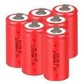 6 ШТ. Sub C батарея SC аккумулятор 1.2 В 2200 мАч Ni-Cd Ni-Cd Батареи-красный Цвет 4.25*2.2 см