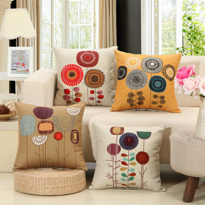 4 Style High Quality Printing Linen Cotton Cushion Home