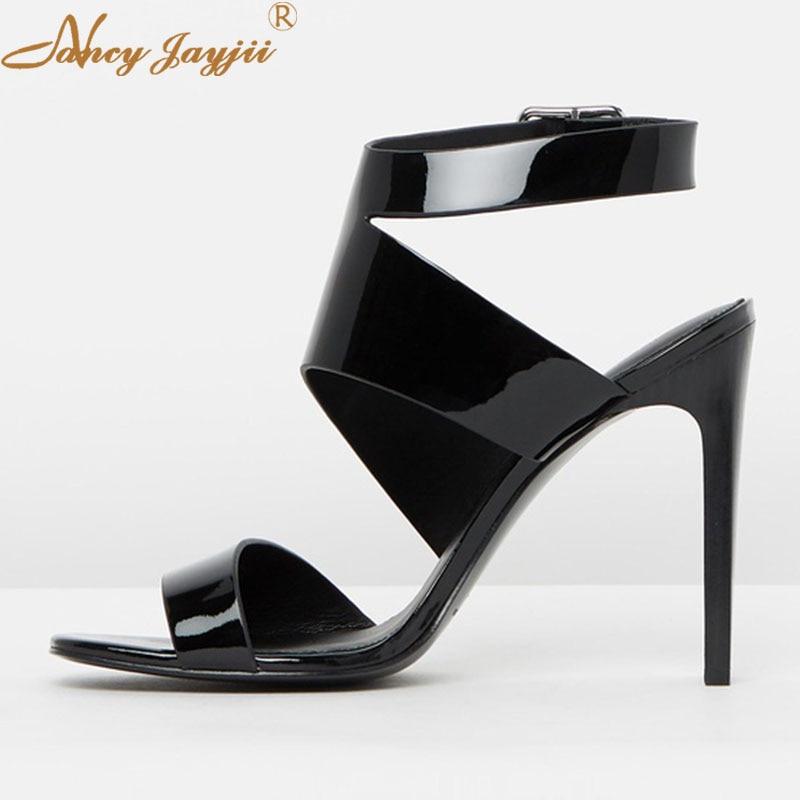 Verni Ty01 2019 Haute Solide Super wrap Femme Élégant De Boucle Talons Mature Cuir Minces Base Pour Chaussures Noir Cheville En Sandales qwzRHa