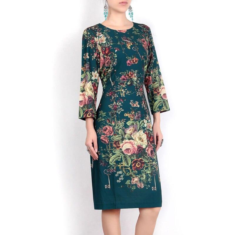 High quality 2017 women designers fashion long-sleeved Vintage dress amazing Print Bodycon dress amazing women