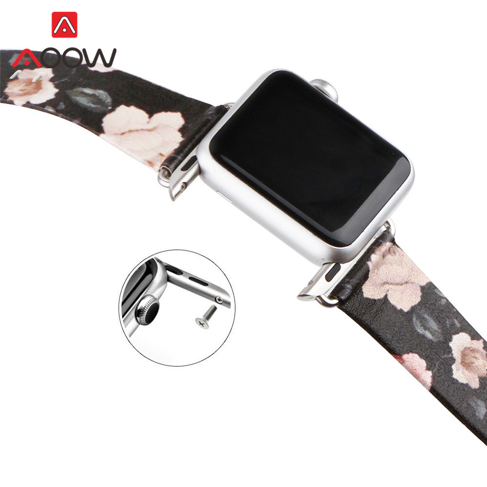 Flower Printed Leather Watchband for Apple Watch 38mm 42mm 44 Retro White Rose Replacement Bracelet Band Strap for iwatch 12 3 4Flower Printed Leather Watchband for Apple Watch 38mm 42mm 44 Retro White Rose Replacement Bracelet Band Strap for iwatch 12 3 4