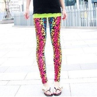 4d5965107357 Free Shipping Women Fashion Style Legging Sexy Neon Leopard Print Leggings  Printing pants 2013