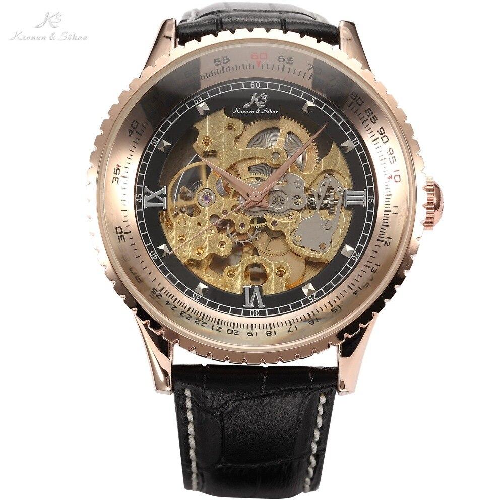 цена на Kronen Sohne Royal Carving Black Leather Strap Automatic Mechanical Skeleton Men's Golden Case Relogio Self Wind Watch /