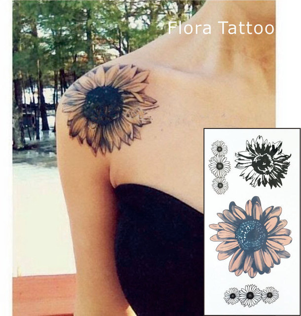 Ft02 Tournesol Temporaire Body Tattoo Marguerite Fleur Tatouages
