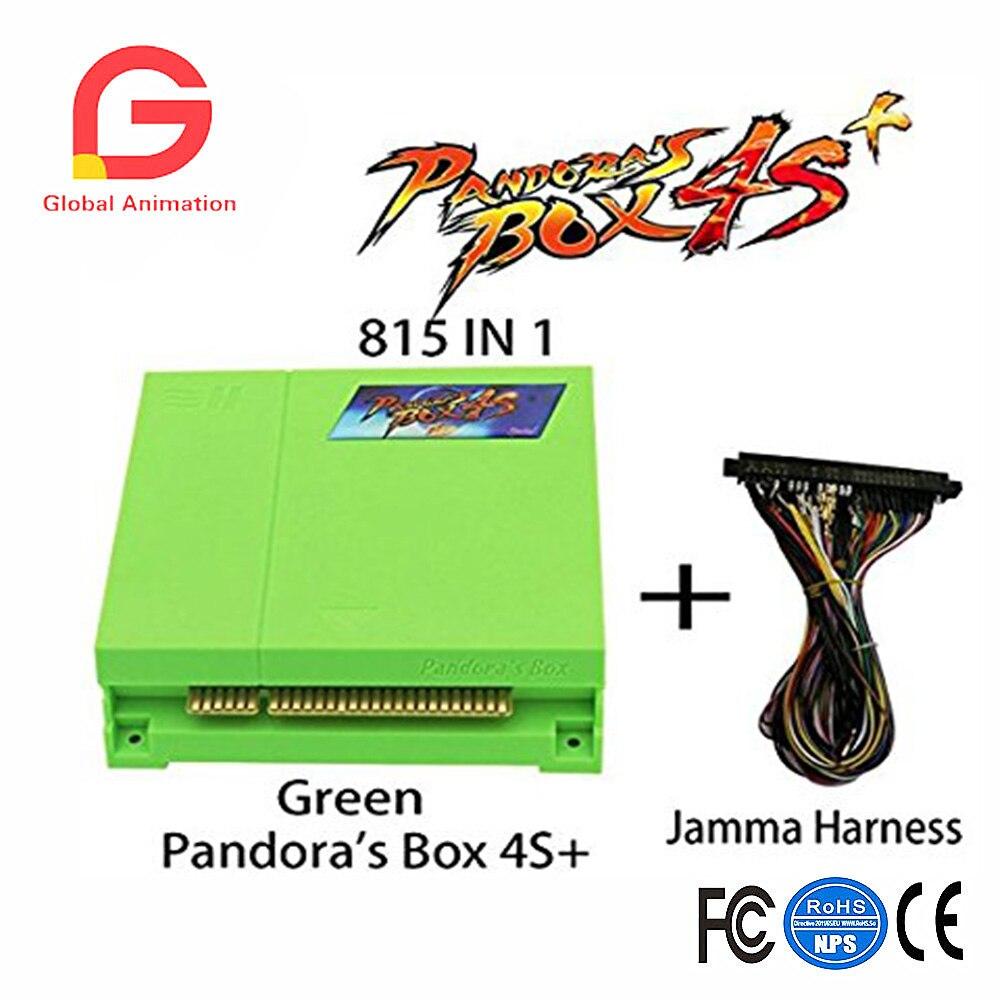 Pandora's Box 4s Plus PCB 815 In 1 Multi Arcade Games Jamma Board with Jamma Harness VGA HDMI Output Arcade Cabinet - Green цена