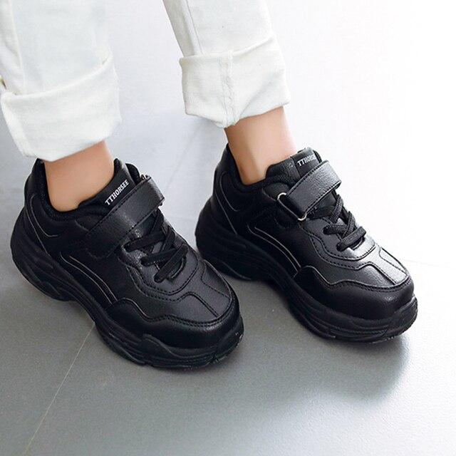 SKHEK סתיו חורף נעלי ספורט לילדים נעליים לילדים בנים ספורט מאמן חיצוני עור ריצה בית ספר נעלי שחור לבן אדום