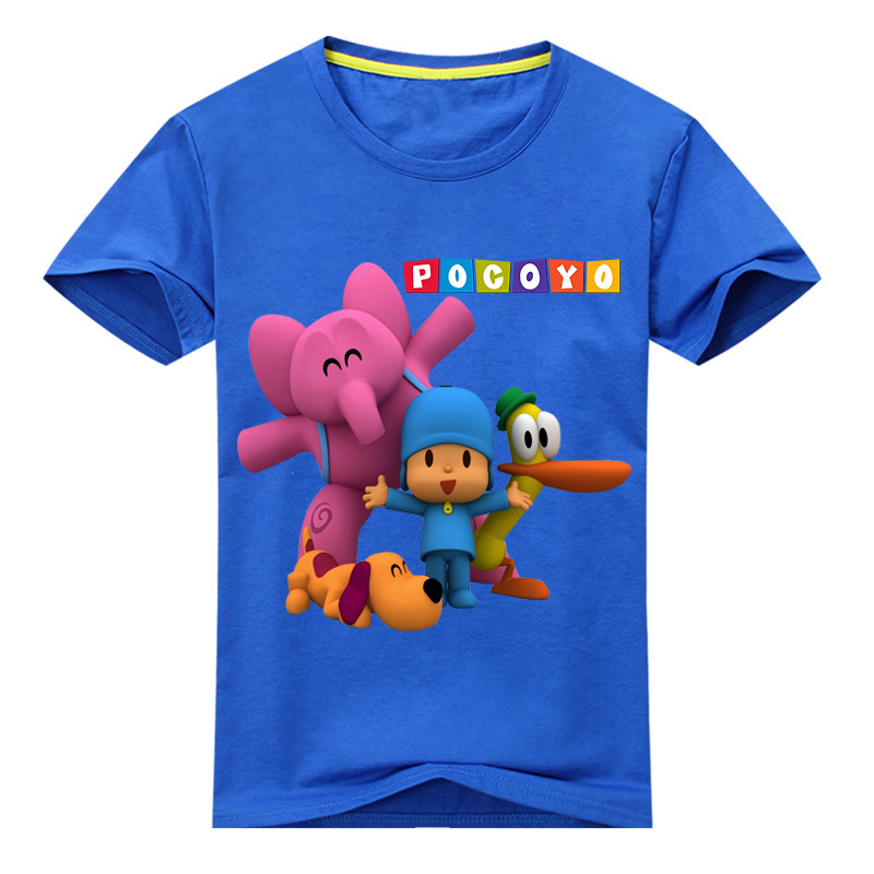 Children Summer Short Sleeve Cartoon Pocoyo Print T-shirt Clothing For Kids Tee Tops Costume Boy Girl White Tshirt Clothes DX049 children summer hot shooting game print t shirt clothing for boy t shirts girls short tee tops clothes kids tshirt costume dx063