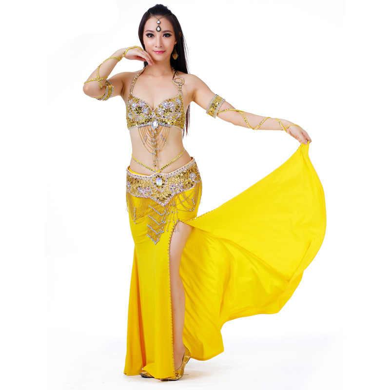 e93b684fa Sujetador Sexy para danza del vientre y cinturón con cuentas 2 piezas traje  de danza del vientre conjunto de sujetadores y cinturón para mujer ...