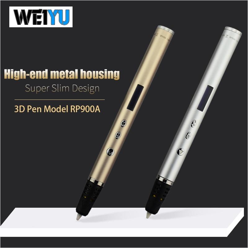WEIYU 3d stylos PLA filament 1.75mm 10 couleur * 5 m 3d imprimé pen-3d enfants cadeau de noël le plus mince LED affichage stylo de dessin