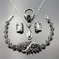 Black Crystal White Zircon 4pcs Jewelry Sets For Women 925 Logo Silver Color Necklace Earrings Bracelet