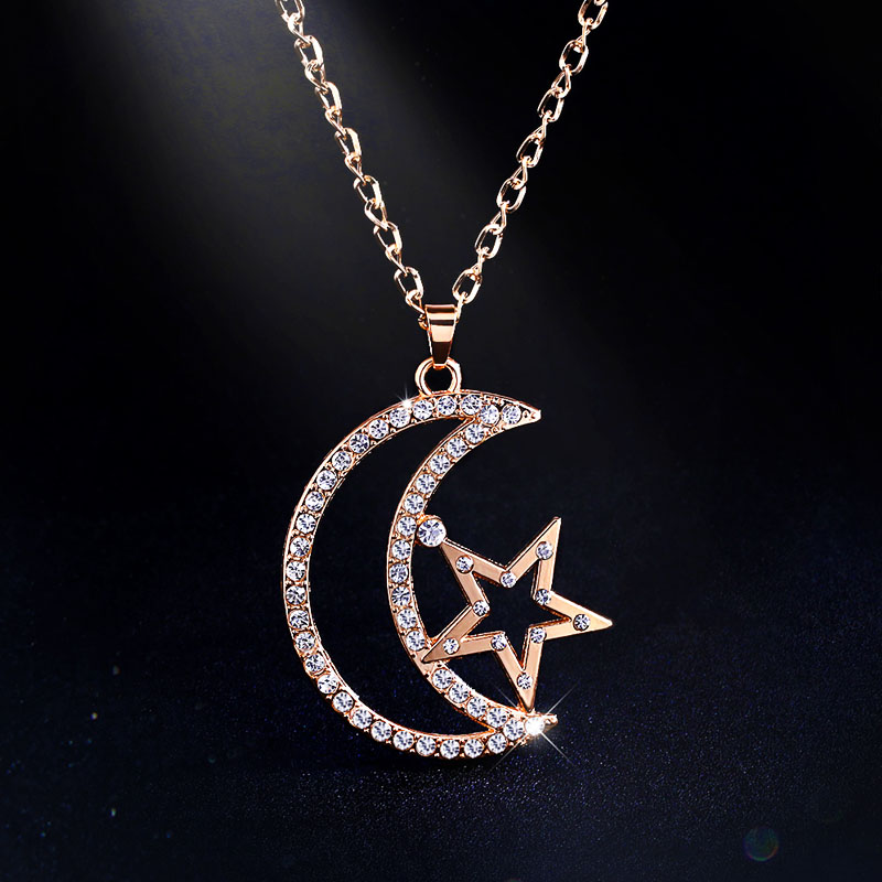Fashion Gold Chain Sailor Moon Necklace Gold Crystal Necklace Pendants Long Necklace for Women Jewelry Christmas Gifts nken25