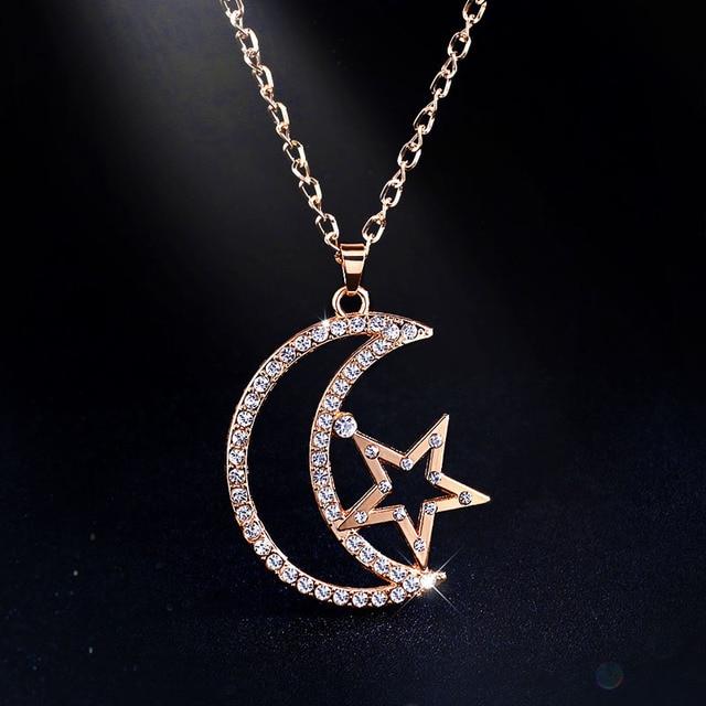 Moda Cadena de Oro Sailor Moon Collar de Oro Collar de Cristal Colgantes de Largo Collar de Joyería de Las Mujeres Regalos de Navidad nken25