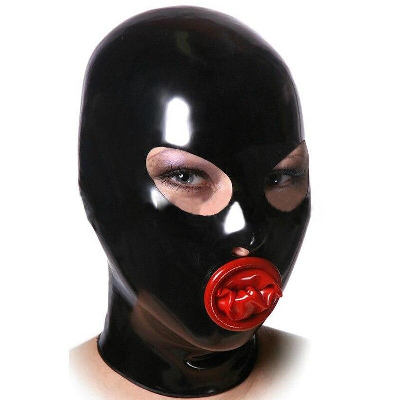 Hot sexy exotique lingerie à la main femmes femmes cekc noir latex hottes avec bouche préservatif capuche masque lenceria dos zipper costumes