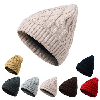 2018 New Wool Ladies Warm Hats Warn Knitting Knitted Hats Lovely Fashion Hats Diamond lattice Women Cute Caps Outdoor Hats
