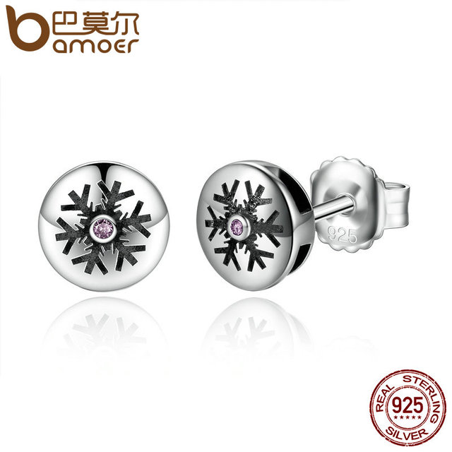 Sterling Silver Pink Crystals Snow Snowflake Stud Earrings