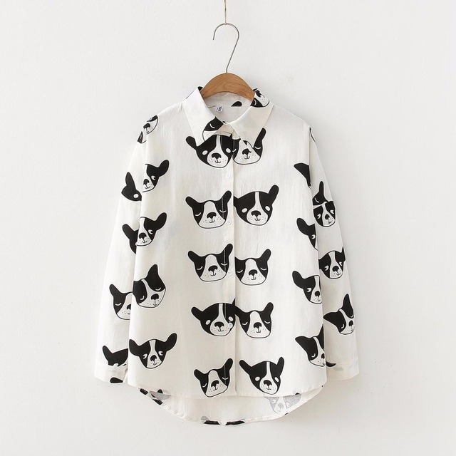 Women's Cute Dog Patterned Long Blouse