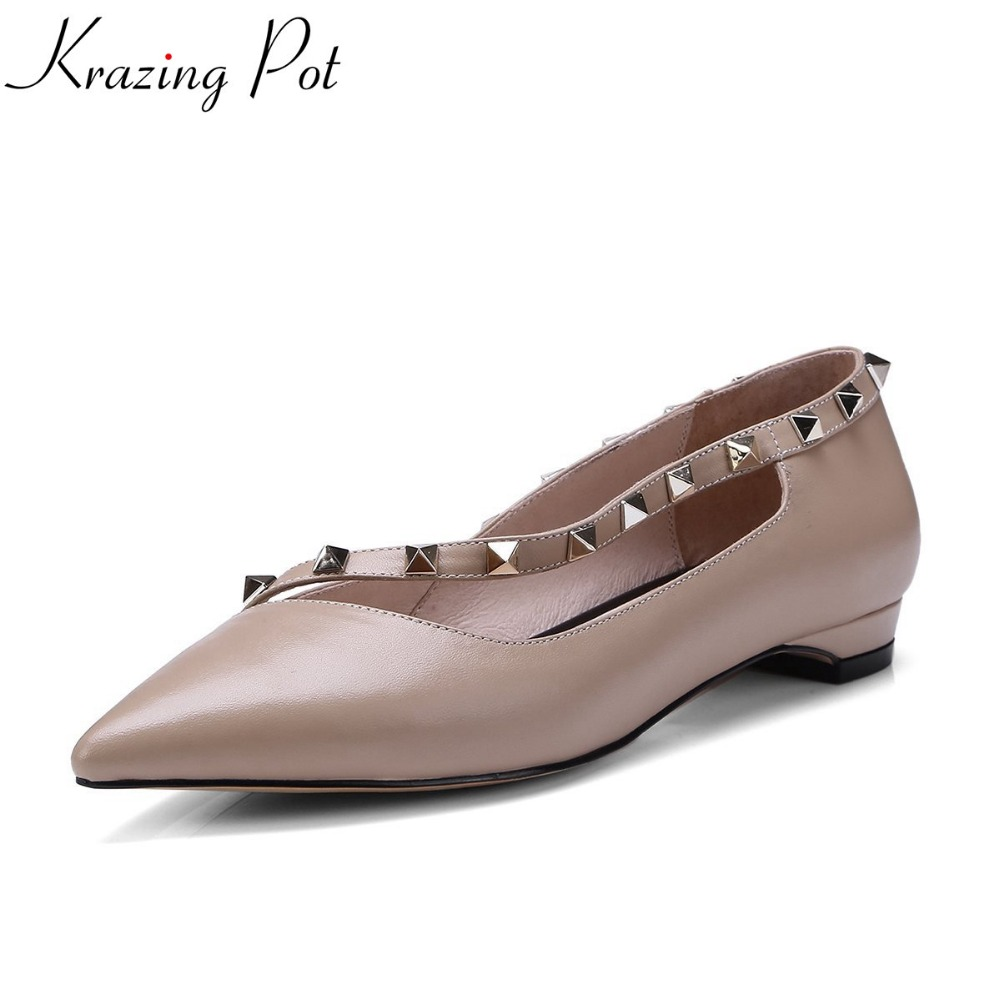 Krazing pot cow leather shallow article rivet casual pointed toe flats slip on US girl sweet women pregnant leather shoes L60