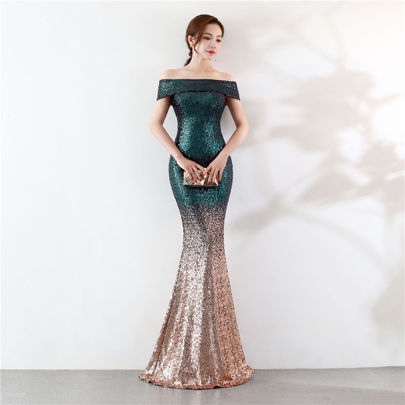 Green  Gold Slash Neck Short Sleeve Long Mermaid Luxury Clubwear Sexy Sequin  Dress Elegant Cocktail Party 7cd627eb8c09
