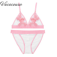 Women Bra & Brief Sets Embroidery Floral Transparent Lace Sexy Bra Set Wire Free Ultra-thin Bra and Panties Sexy Lingerie BS6