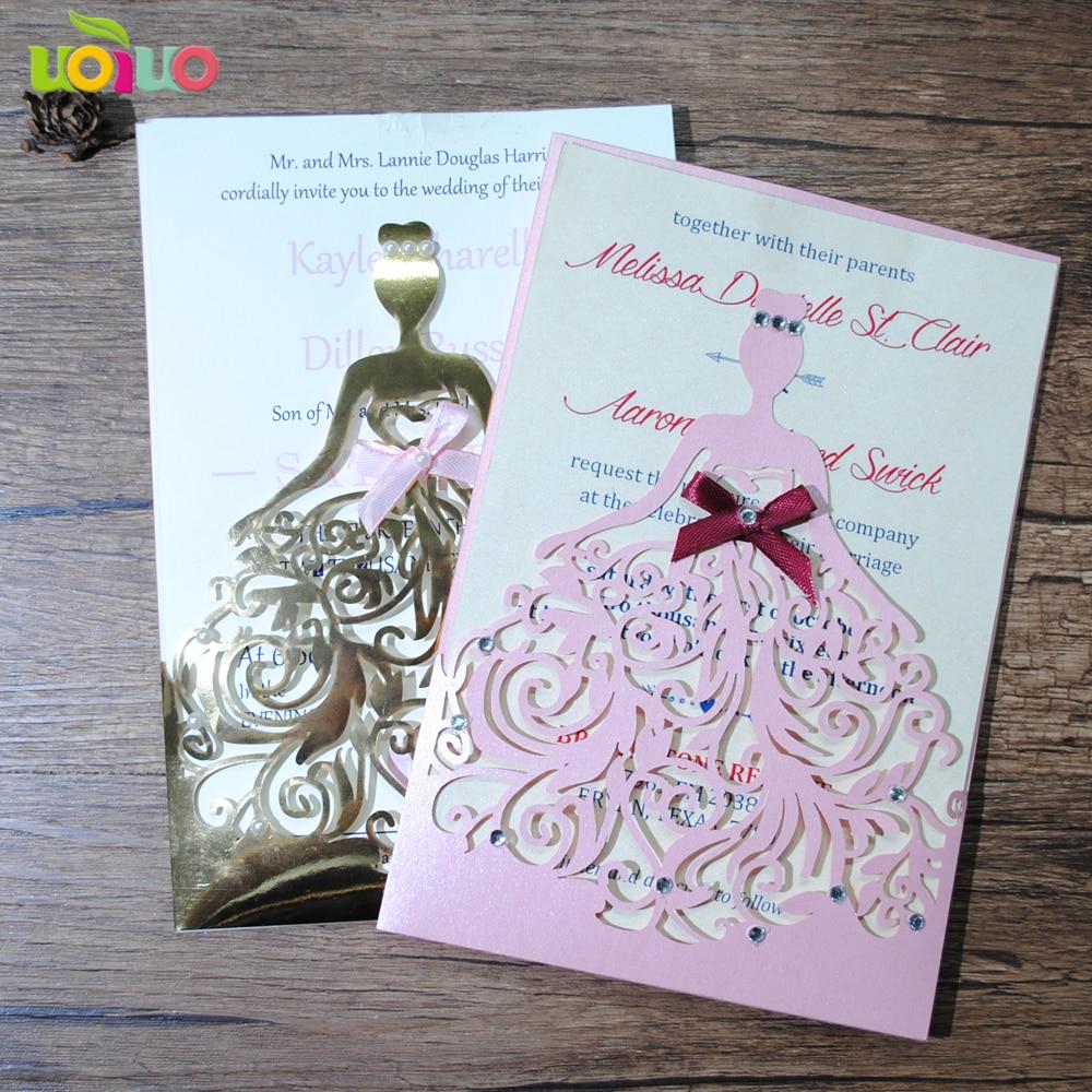 Girls Birthday Invitation Card Wedding Party Supplies Bridal Shower Laser Cut Pocket Princess Invitations