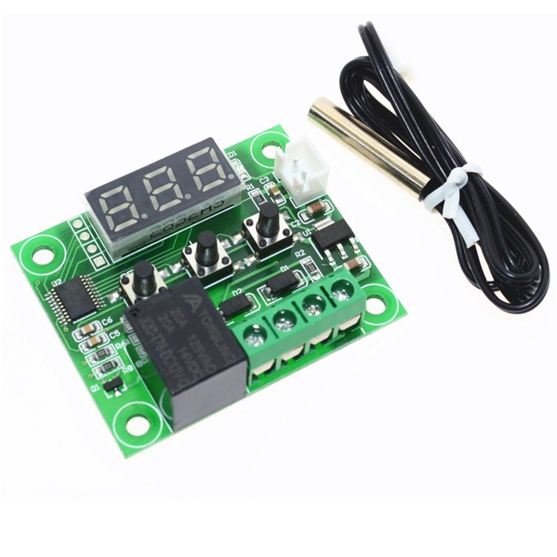 1pcs W1209 DC 12V heat cool temp thermostat temperature control switch temperature controller thermometer thermo controller ac 250v 20a normal close 60c temperature control switch bimetal thermostat