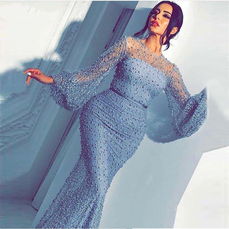 Argent robes de soirée manches longues sirène dentelle perles Sexy femmes arabe formelle fête robe de bal robe de soirée 2019