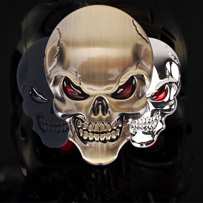 1Pcs 3D Skull Zinc Alloy Metal Car Motorcycle Sticker Skull Emblem Badge Car Styling Stickers Accessories Car Decoration dragon emperor kaiser loong imperial chinese character script 3d metal diy car auto motorcycle badge emblem sticker car styling