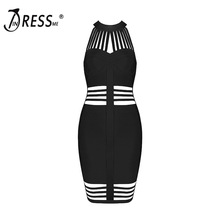 INDRESSME Sexy Hollow Out Strapless Mini O Neck Backless Solid Summer Women Lady Bandage Dress Femme Vestidos 2017 New Arrival