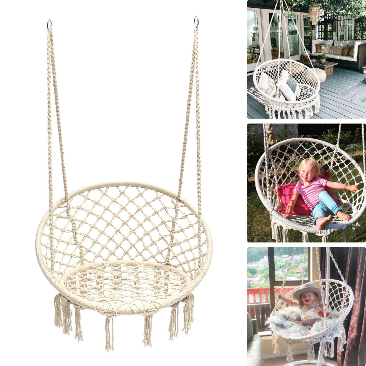 Round Hammock Chair Outdoor Indoor Dormitory Bedroom Yard For Child Adult Swinging Hanging Single Safety Chair Hammock