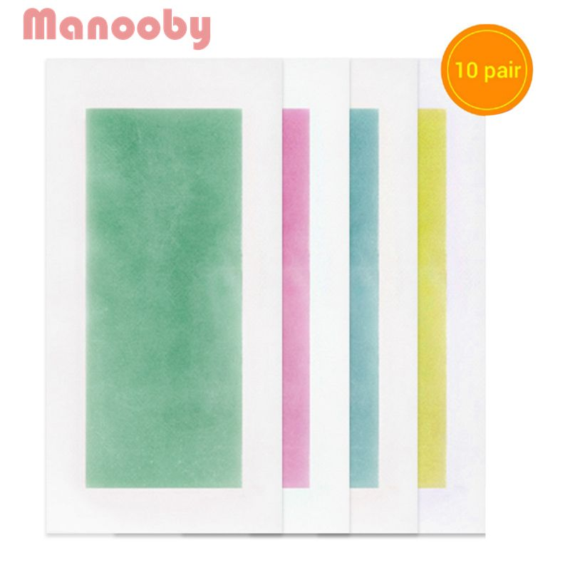 Bright Manooby 10 Pairs Summer New Hot Sale Professional Hair Removal Double Sided Cold Wax Strips Paper For Leg Body Face Bikini Relieving Heat And Sunstroke Home