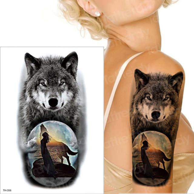 Wodoodporna Tymczasowa Naklejka Tatuaż Wilk Księżyc Dziewczyna Tatuaż Sexy Czarny Rękawy Tatuaże Ramię Mężczyzn Tatuaż Wilk Las Duży Tatuaż Chłopcy