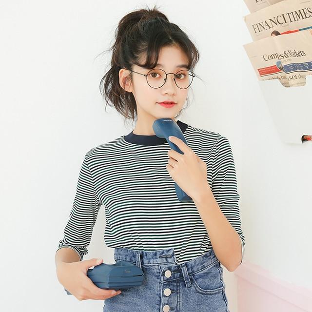 Bts ulzzang harajuku camiseta mulheres tops 2019 verão estilo coreano roupas femininas moda doce retro listrado amigos t shirt mulheres