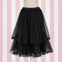 Ladies Black Double Layered Vintage Net Petticoat Underskirt For Skirt Midi Hoopless Tutu Slips For Women Junior Teen Girls