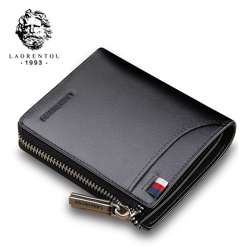 Laorentou Men Wallet Genuine Leather Card Holder Short Wallet Luxury Man Purse Brand Card Case Casual Standard Wallets