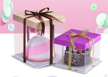 4 count for 10 inch Clear Boxes Plastic Cupcake Cake Case Muffin Pod Dome Holder Box(China)