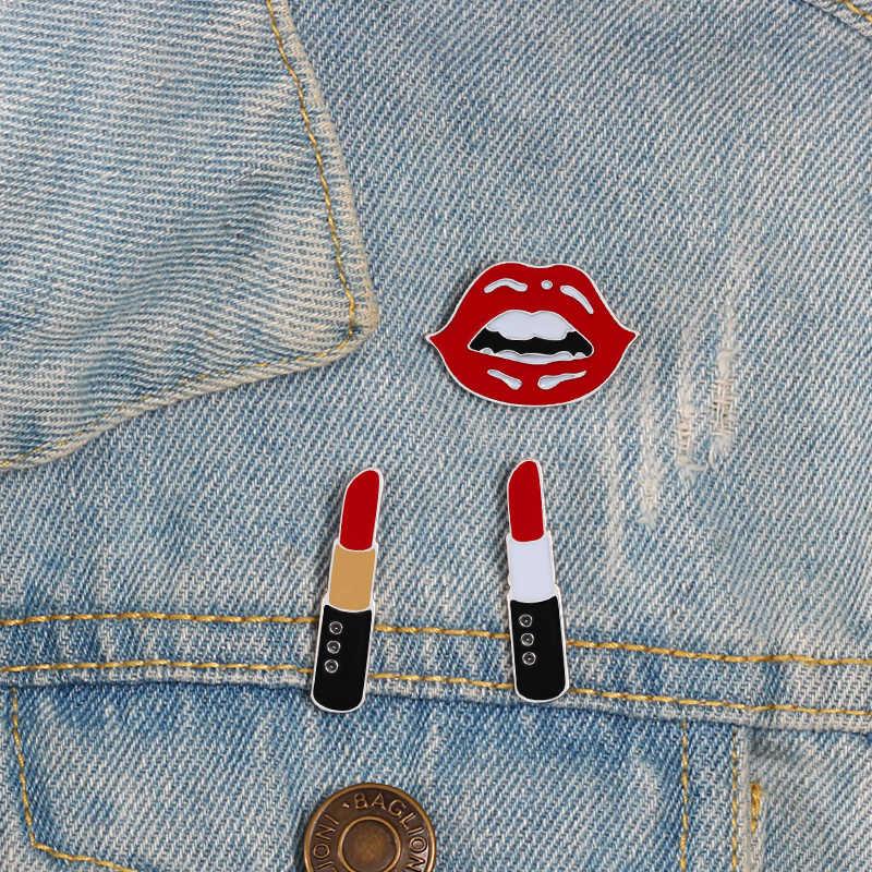 Kualitas Tinggi Enamel Pin Bros dan Lucu Seksi Bibir Merah dan Lipstik Pin Perhiasan Lencana Tas Pakaian Denim Dekorasi Wanita pria
