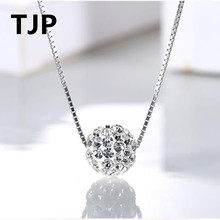 TJP Popular Luck Ball Pendant Necklace Jewelry Women Wedding Party 925 Sterling Silver Box Chain Necklace Fashion Girl Accessory цены